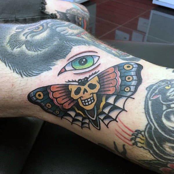 Old School Guys Moth Leg Tattoo Ideas