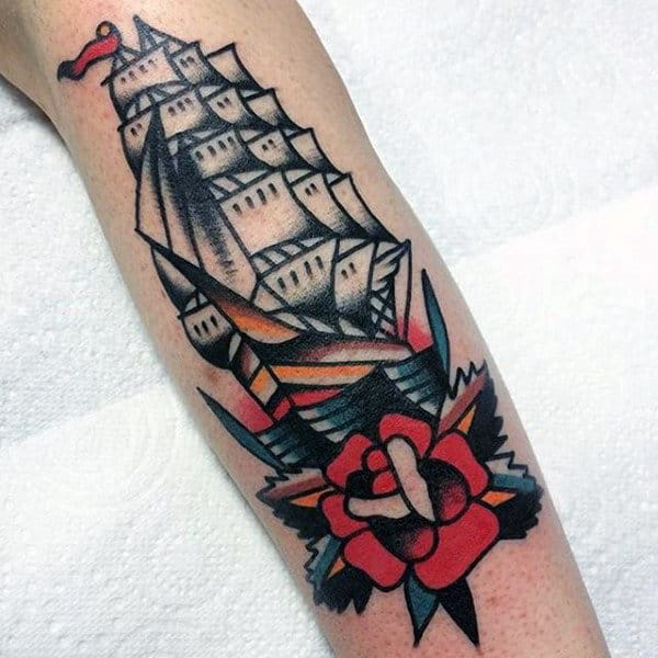 Old School Guys Outer Forearm Tattoo Of Traditional Ship And Rose Flower