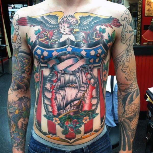 Old School Guys Patriotic Sailor Jerry Chest Tattoos