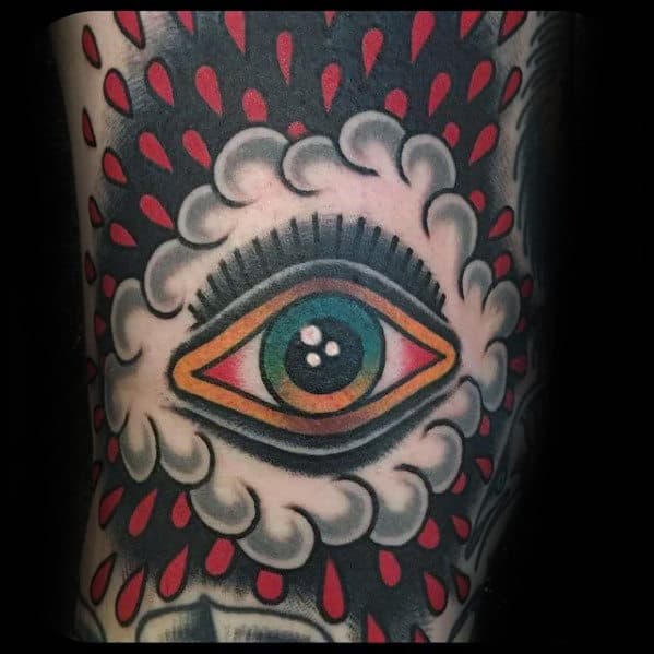 Old School Guys Raining Cloud Eye Traditional Sleeve Tattoo