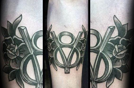 Old School Guys Retro V8 Rose Flower Inner Forearm Tattoos