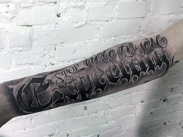 40 Forearm Quote Tattoos For Men - Worded Design Ideas