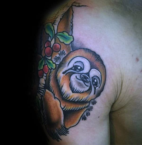 Old School Guys Sloth Shoulder Tattoo Designs