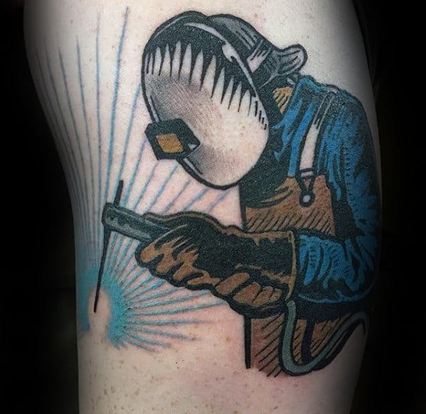 Old School Guys Welder Tattoo On Arm
