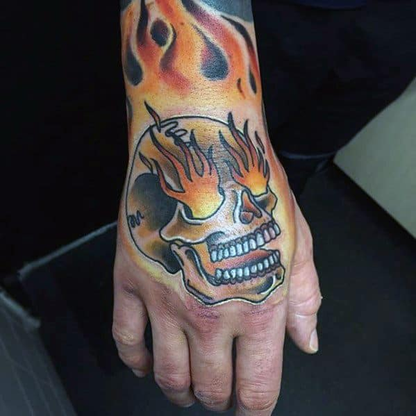 Old School Hand Flaming Skull Guys Tattoo Ideas