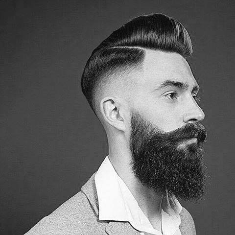 Old School Hard Part Hairstyle For Men With High Fade