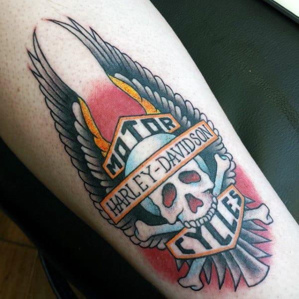 Old School Harley Davidson Skull And Crossbones Guys Tattoos