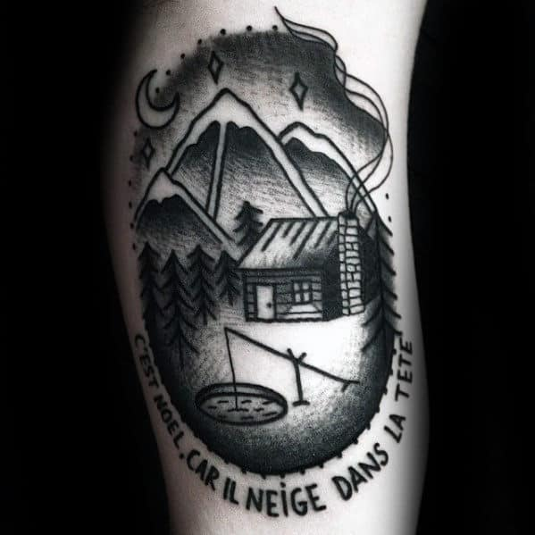 Old School Ice Cabin Mens Arm Tattoo Design Ideas