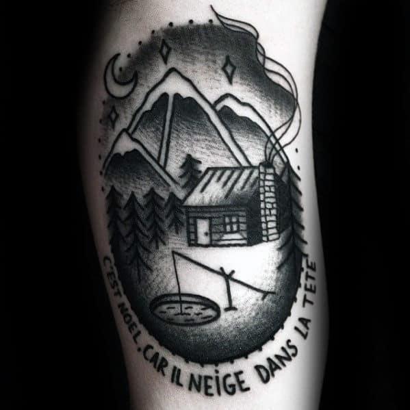 Old School Ice Cabin Mens Arm Tattoo Design Ideas