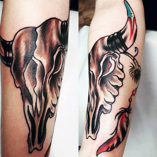 Old School Inner Forearm Bull Skull Tattoo For Guys