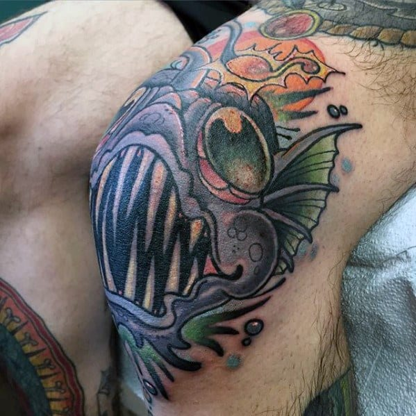 Old School Knee Cap Masculine Angler Fish Tattoos For Men