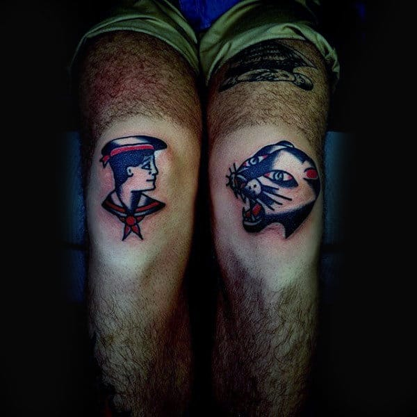 Old School Knee Tattoo Of Sailor And Jungle Cat On Man