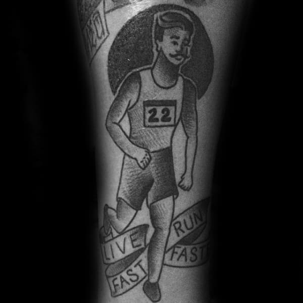 Old School Live Fast Run Fast Tattoo On Man