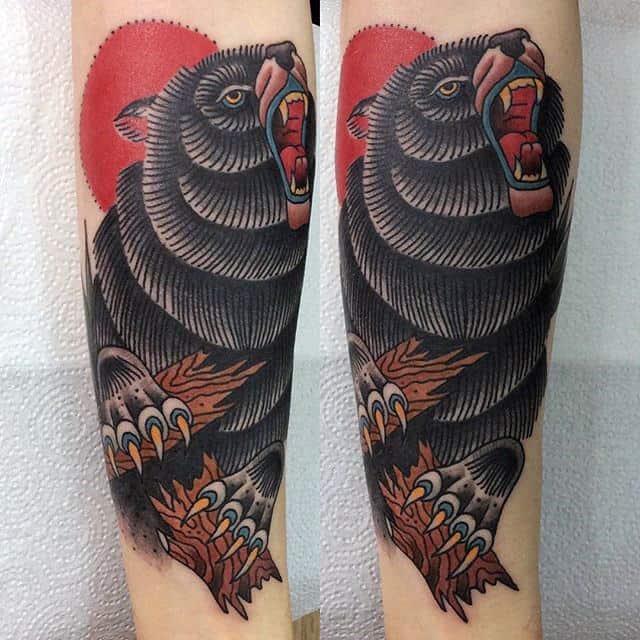 Old School Male Bear Claw Forearm Tattoos
