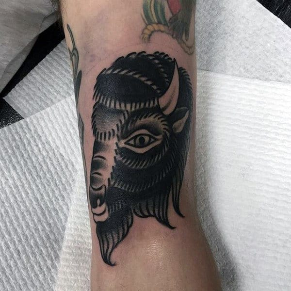 Old School Male Bison Black Ink Arm Tattoo