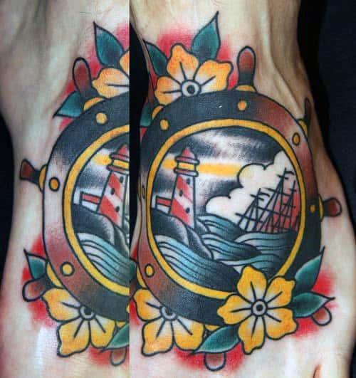 Old School Male Foot Ship Wheel Tattoo Design Idea Inspiration