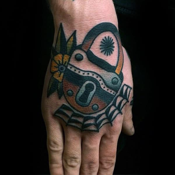Old School Male Lock Hand Tattoos