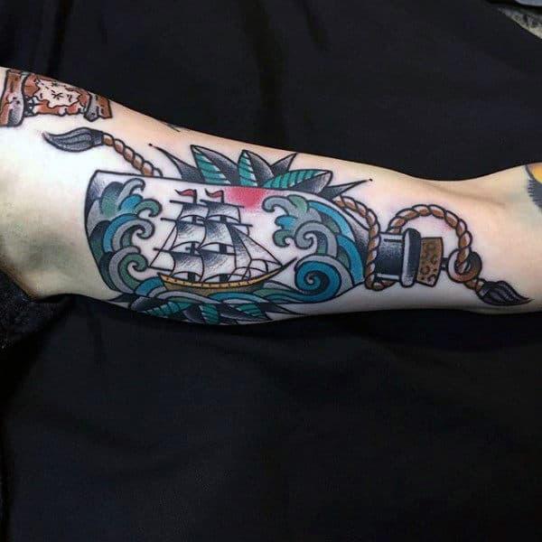Old School Male Ship In A Bottle Arm Tattoo