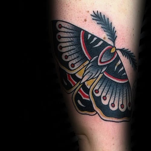 Old School Male Traditional Outer Forearm Moth Tattoos