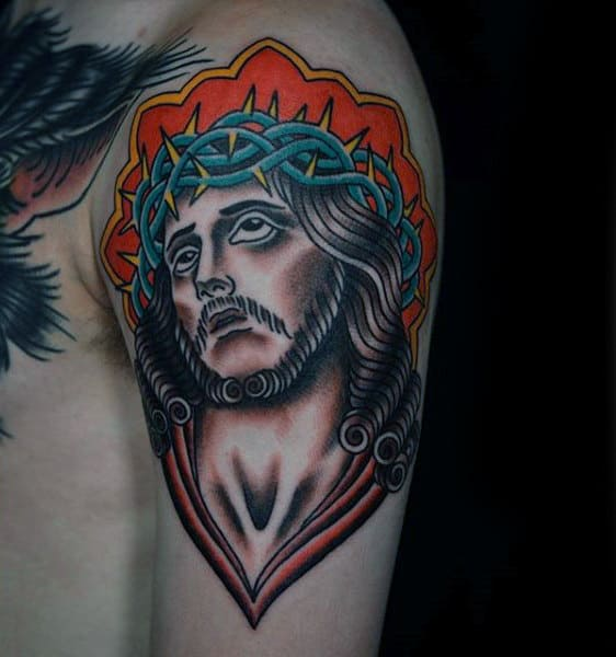Old School Male Upper Arm Jesus Tattoo Inspiration