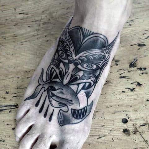 Old School Mask With Hammerhead Shark Guys Foot Tattoo