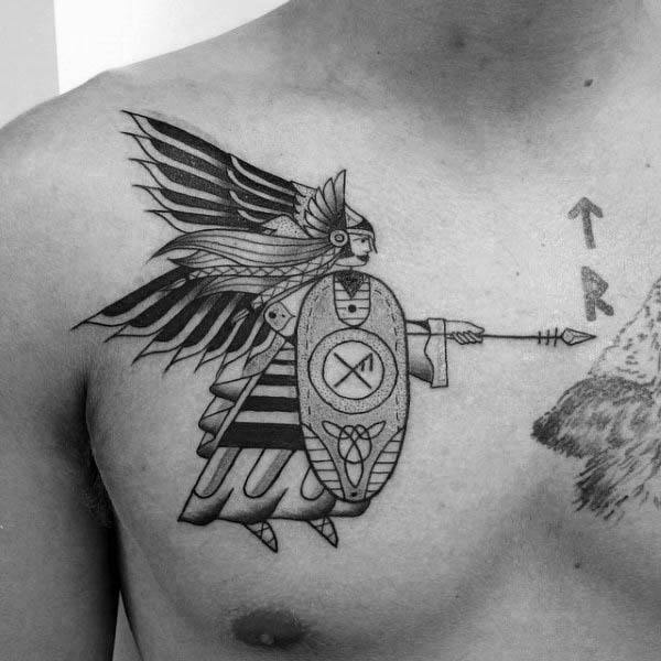 Old School Mens Angel With Spear Chest Tattoo