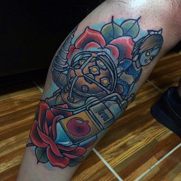 Old School Mens Bioshock Leg Tattoo Ideas