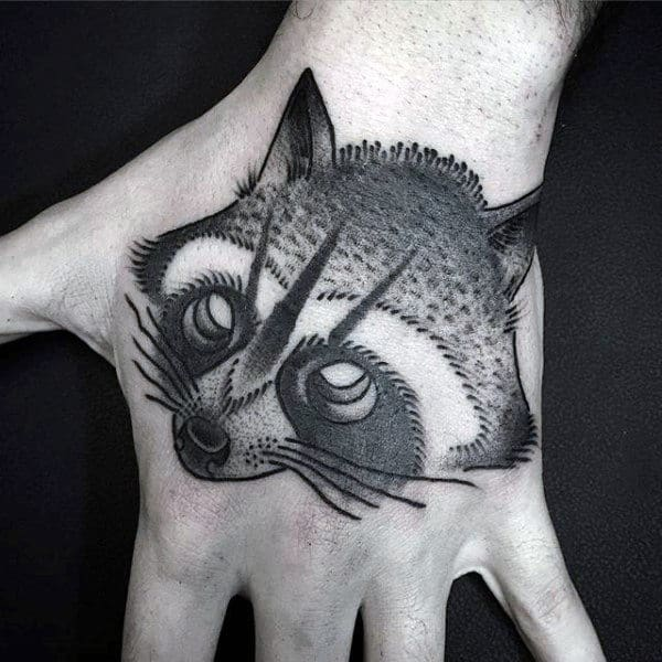 Old School Mens Black Ink Shaded Raccoon Hand Tattoo Design