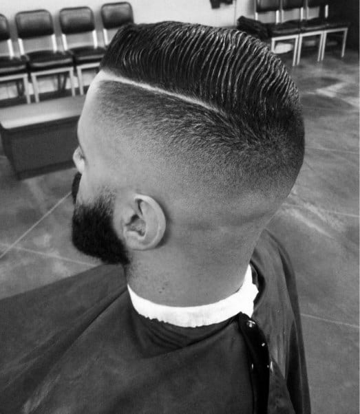 Old School Mens Comb Over Haircut With Fade And Hard Part Shaven Line