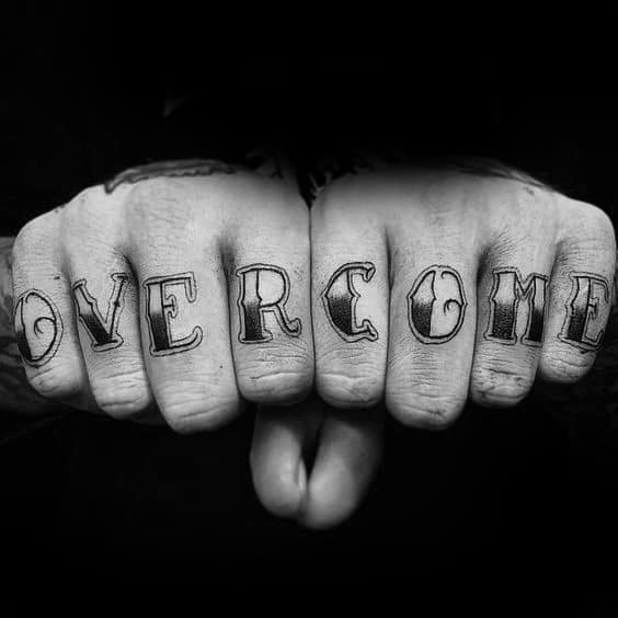 Old School Mens Cool Overcome Tattoo Ideas On Fingers