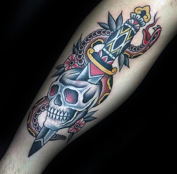Old School Mens Dagger Snake And Traditional Skull Forearm Tattoo Design