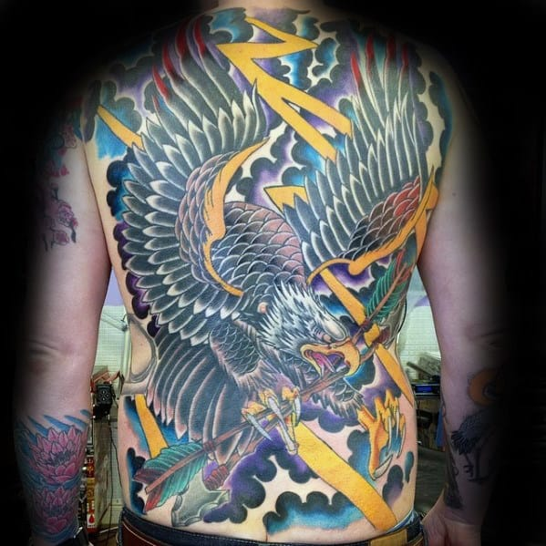 Old School Mens Eagle Storm Clouds Full Back Tattoo