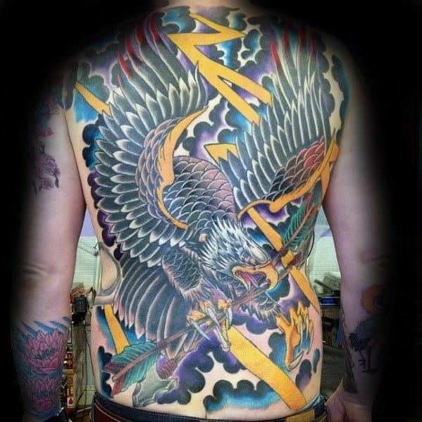 Old School Mens Eagle Storm Clouds Full Back Tattoo