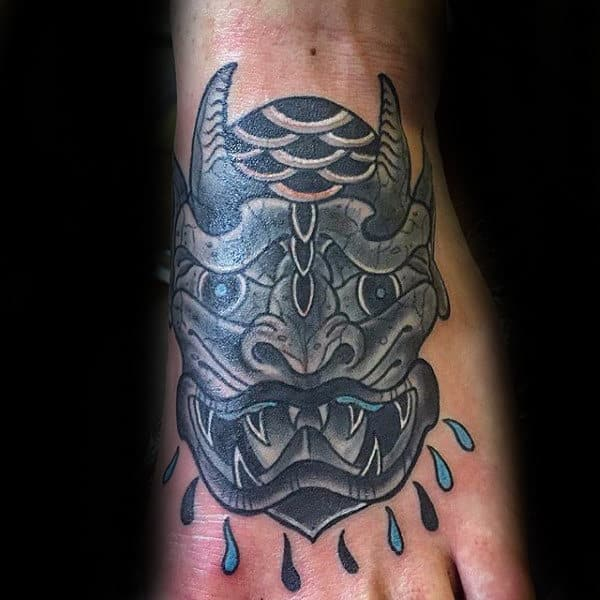 Old School Mens Gargoyle Foot Tattoos