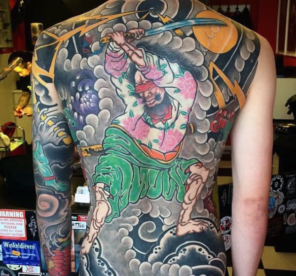 Old School Mens Japanese Full Back Tattoo Ideas