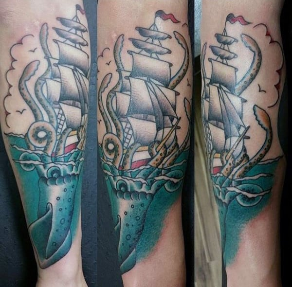 Old School Mens Kraken Sailing Ship Forearm Male Tattoos