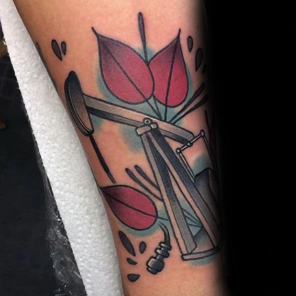 Old School Mens Oilfield Forearm Tattoo Ideas