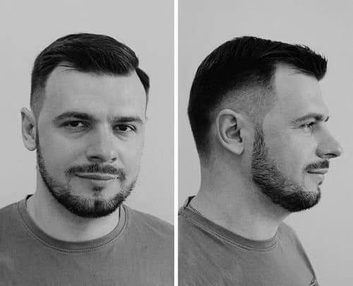 Old School Mens Short Haircut With Taper Fade