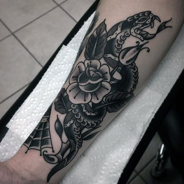 Old School Mens Snake And Rose Flower Shaded Inner Forearm Traditional Tattoos
