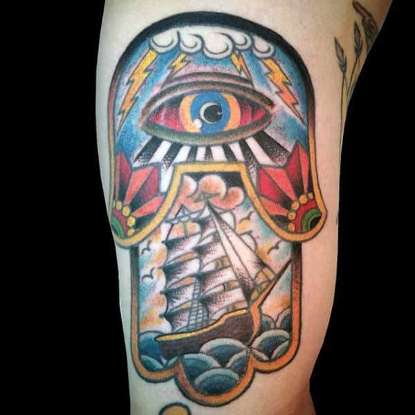 Old School Mens Traditional Hamsa Bicep Tattoo With Sailing Ship Design