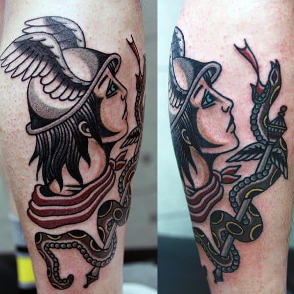 Old School Mens Traditional Hermes Leg Tattoo