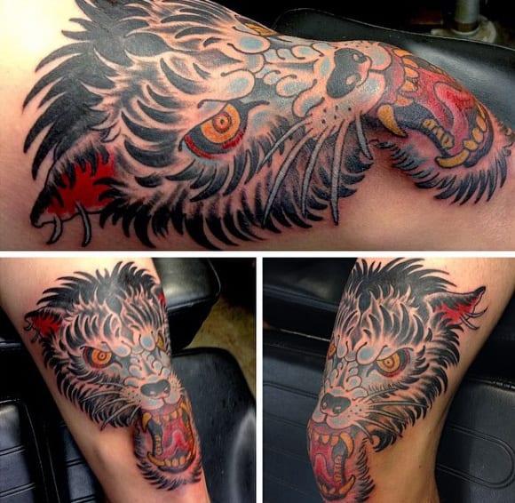 Old School Mens Wolf Knee Tattoos