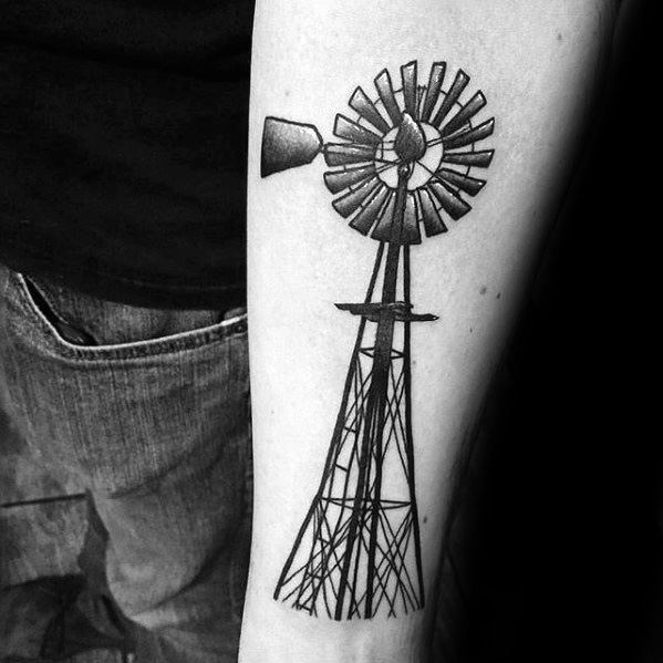 Old School Metal Windmill Mens Inner Forearm Tattoo