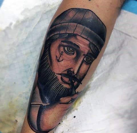 Old School Nautical Sailor Mens Leg Tattoo