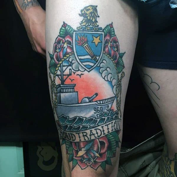 Old School Navy Thigh Tattoos For Guys