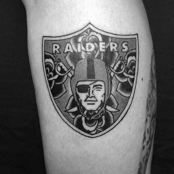 Old School Oakland Raiders Rose Flower Guys Leg Tattoo