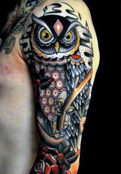 Old School Owl And Rose Flower Male Half Sleeve Tattoo Inspiration