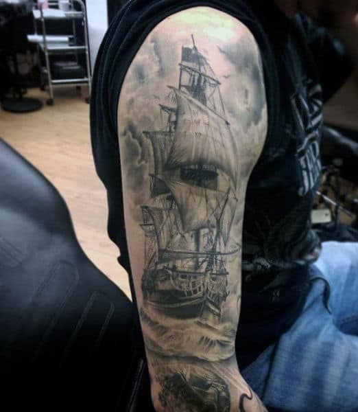 70 Ship Tattoo Ideas For Men - A Sea Of Sailor DesignsOld School Battleship Tattoos