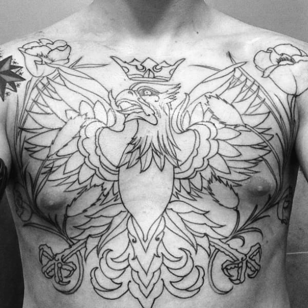 Old School Polish Eagle Black Ink Outline Chest Tattoo On Male