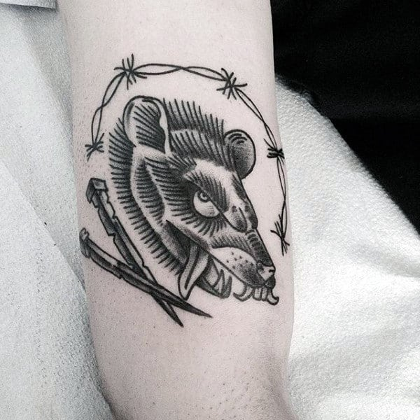 Old School Rat With Nails Mens Arm Tattoos